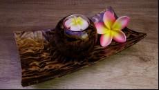 originál set z mangového dřeva na čajovou svíčku