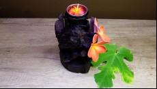 originální svícen z naplaveného teakového dřeva skládaný